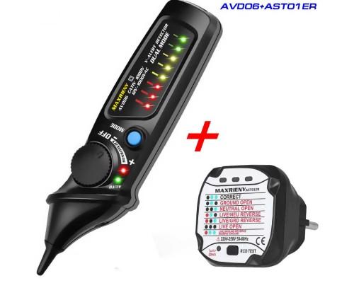 AVD06 - AST01ER бесконтактный детектор напряжения + тестер розеток