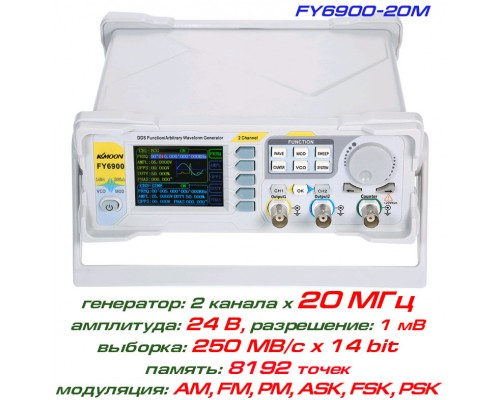 FY6900-20M генератор сигналов DDS, 2 канала х 20МГц