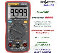 Richmeters, RM109, профессиональный мультиметр TrueRMS, погрешность: ±0,5%, отсчётов: 9999, генератор
