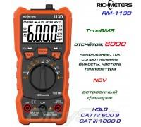 Richmeters, RM113D, профессиональный мультиметр TrueRMS, погрешность: ±0,5%, отсчётов: 6000, NCV