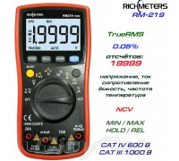 Richmeters, RM219, профессиональный мультиметр TrueRMS, погрешность: ±0,05%, отсчётов: 19999, NCV