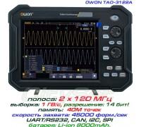 TAO3122A осциллограф OWON. 2 х 120 МГц, память 40М, разрешение: 8/12/14 бит