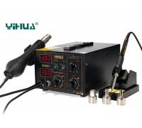YIHUA-852D+ ремонтная станция,  от100°С до480°C, турбина, 2 дисплея