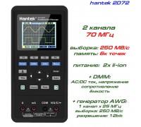hantek 2D72 портативный осциллограф 2 х 70МГц, +DMM, +AWG