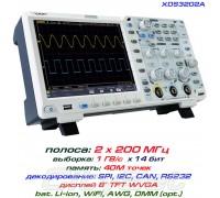 XDS3202A осциллограф 2 х 200МГц, память 40М, АЦП: 14 бит