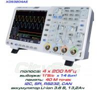XDS3204AE осциллограф 4 х 200МГц, память 40М, АЦП: 14 бит