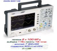 """SDS1102 осциллограф 2 х 100МГц,  выборка 1 ГВ/с, дисплей 7"""""""