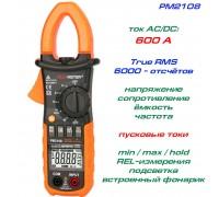 Peakmeter, PM2108, токовые клещи, AC/DC 600A