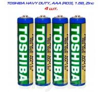 БатарейкаTOSHIBA Heavy Duty, 1.5В,тип АAA(R03),кол-во: 4 шт.