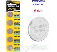 TOSHIBA  батарейка CR2032, 3 В, к-ть: 5 шт.