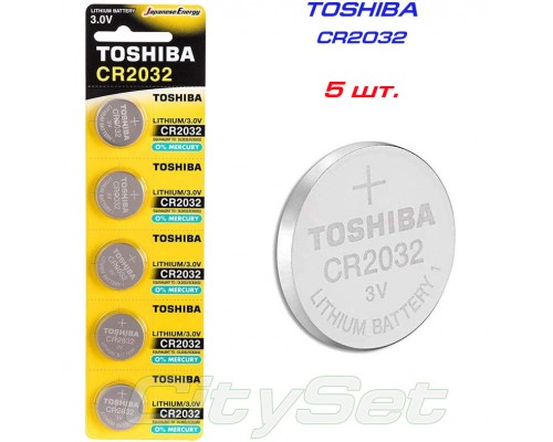TOSHIBA  батарейка CR2032, 3 В, к-ть: 1 шт.
