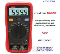 UNI-T UT133A, мультиметр, автоматический, ток, напряжение, сопротивление, ёмкость, частота, температура
