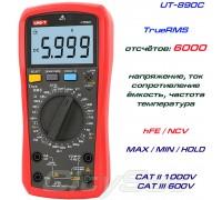 UNI-T, UT890C, профессиональный мультиметр TrueRMS, погрешность: ±0,5%, отсчётов: 6000