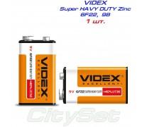 "VIDEX, батарейка 9В, тип 6F22 ""Крона"", солевая, 1шт"