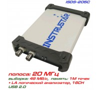 ISDS205C USB-осциллограф 2 х 20МГц,  с логическим осциллографом