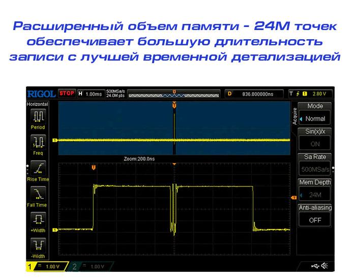 Большой объём памяти для более детального анализа осциллограмм осциллографом Rigol DS1202Z-E