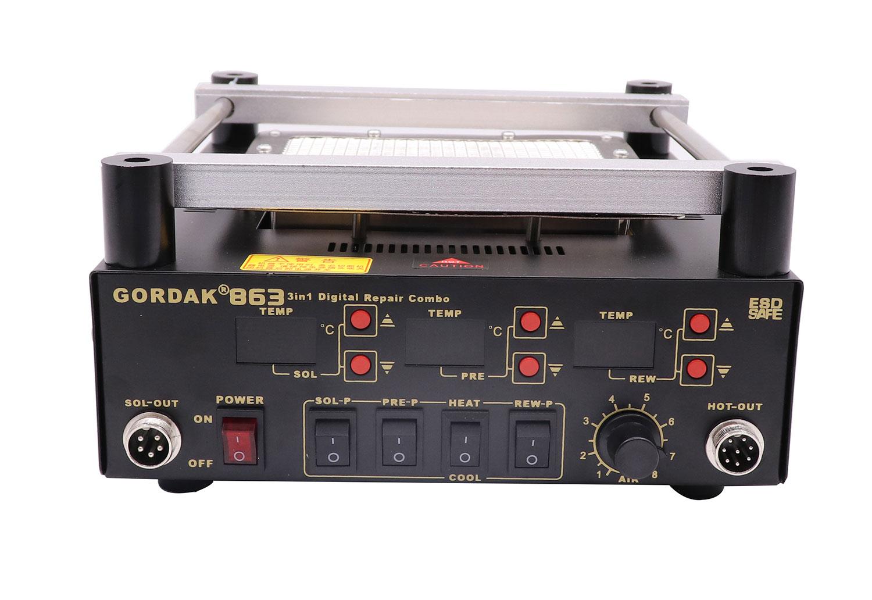 GORDAK 863 паяльная станция 3 в 1: рабочая область: 160х160