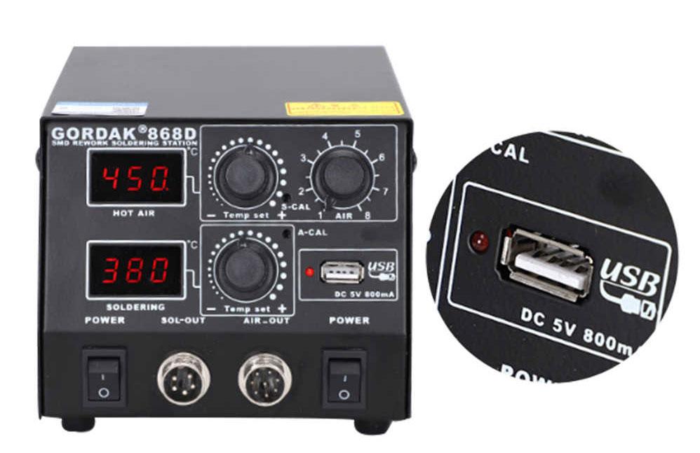 Gordak 868D наиболее эффективная по соотношению цена качество ремонтная паяльная станция 2 в 1,  от100°С до500°C