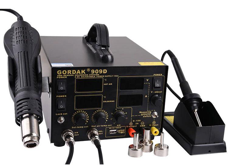 GGORDAK 909D паяльная станция 3 в 1: паяльник + термофен + блок питания 0-15В / 2А