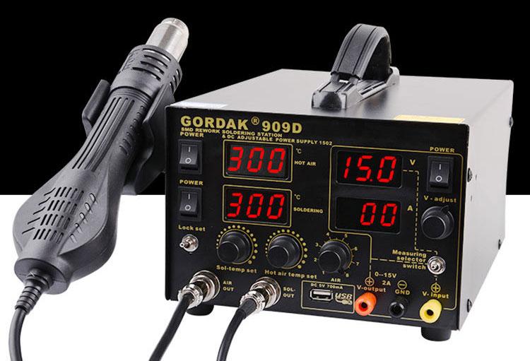 GORDAK 909D паяльная станция 3 в 1: оснащен лабораторным блоком питания