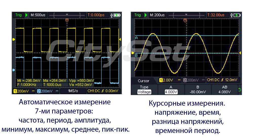 HDS272 портативный осциллограф: автоматические измерения