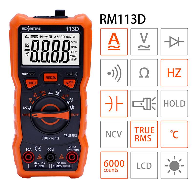 Функциональность мультиметра RM-113D Richmeters