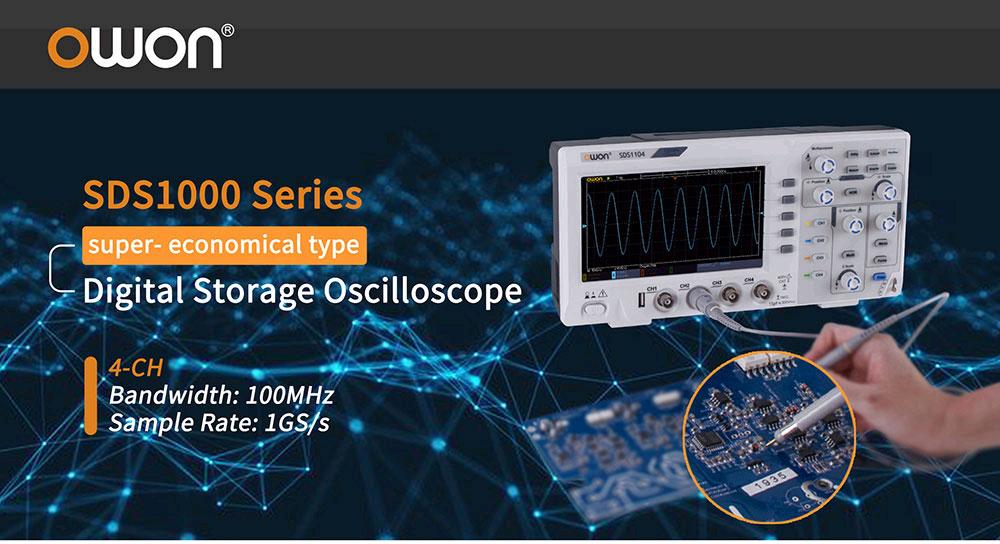 SDS1102OWON –цифровой четырехканальный осциллографс полосойполосой пропускания 100 МГц, скоростью выборки 1 ГВ/с, и объемом памяти 20 тыс.точек