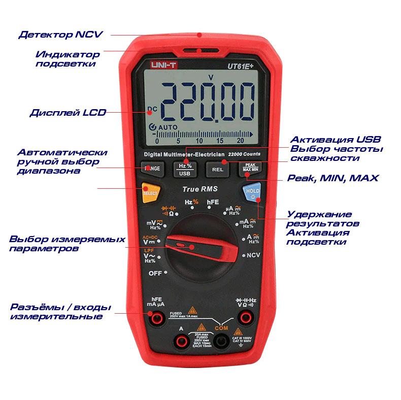 UT61E+ UNI-T: назначение кнопок управления мультиметром