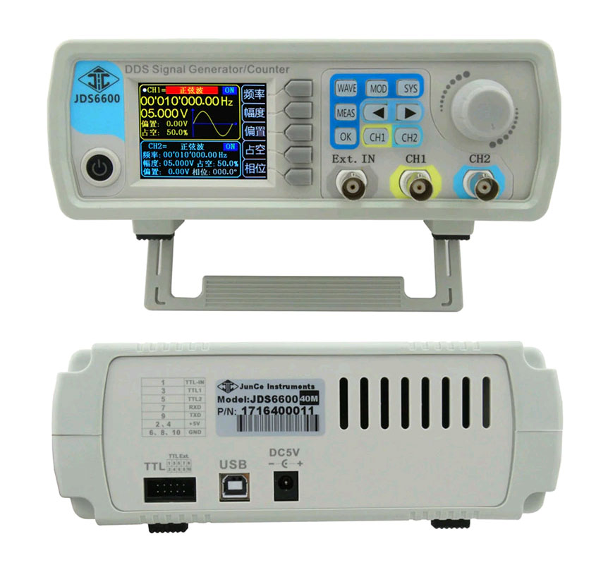Внешний вид низкочастотного генератора Juntek JDS6600-40M