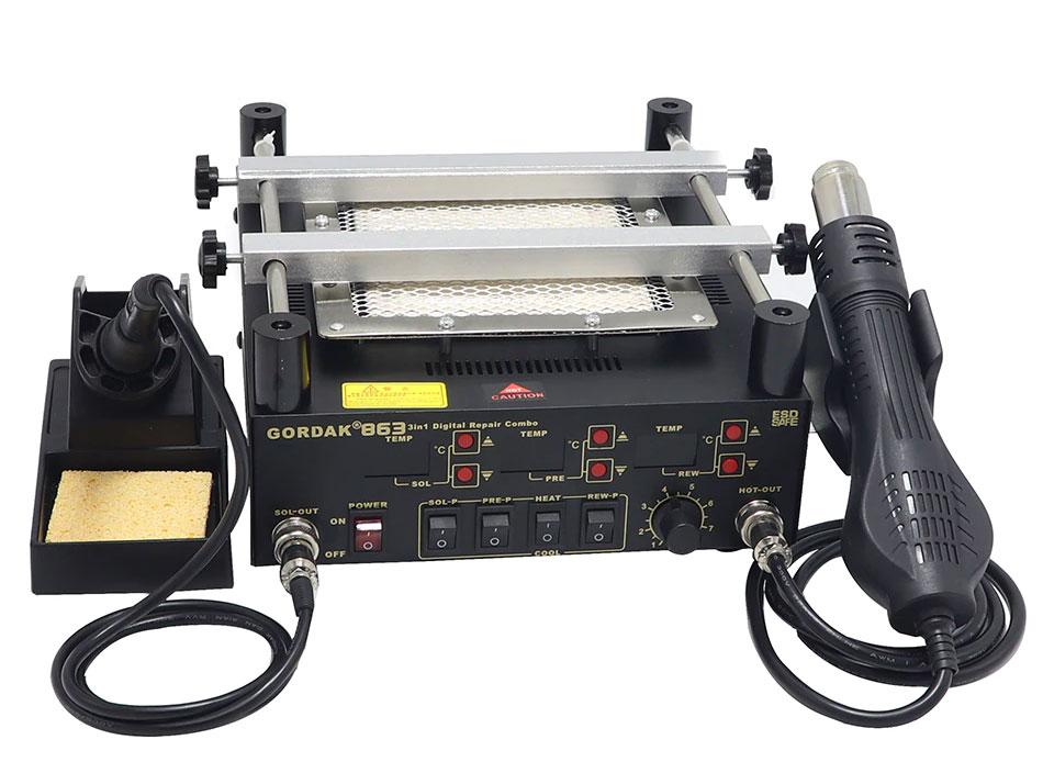 GORDAK 863 паяльная станция 3 в 1: оснащен керамическим нагревателем