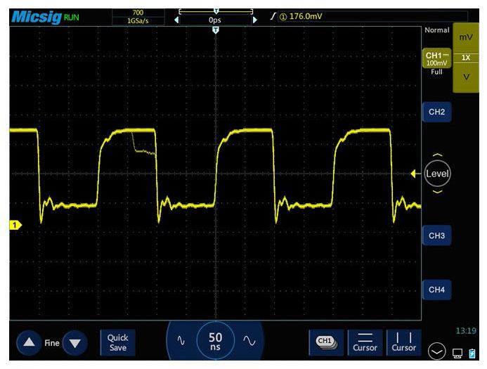 Осциллограф STO1152C обеспечивает захват глитчей благодаря высокой скорости синхронизации