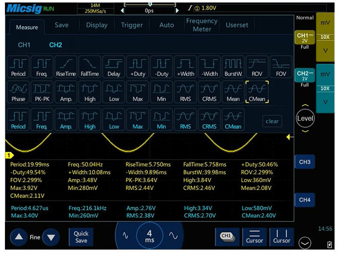 Осциллограф STO1102C предлагает пользователю 31 автоматических измерения
