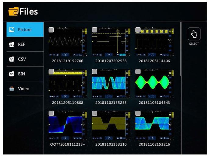 Осциллограф STO1102C предлагает самый удобный интерфейс для управления сохраненными файлами.