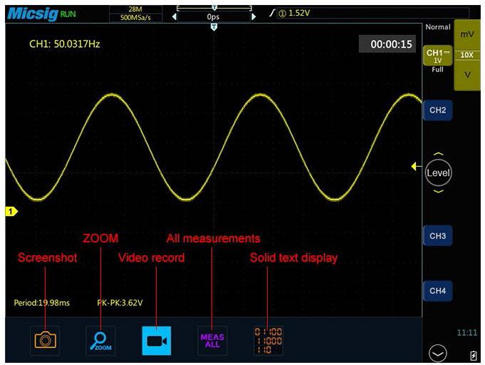 Осциллограф STO1102C в режиме сохранения результатов измерений