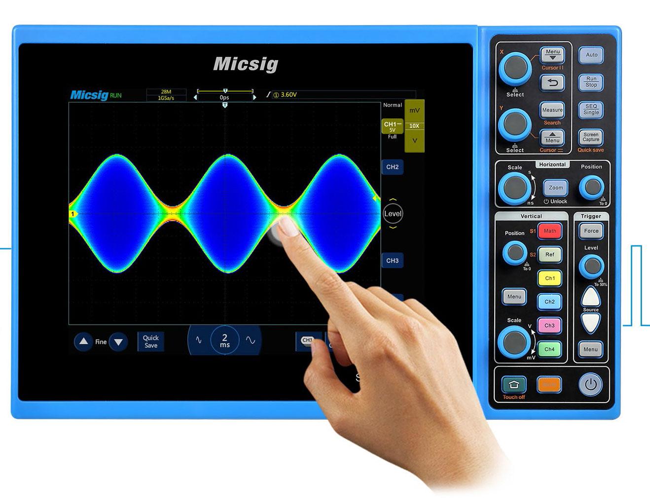 STO1102C, осциллограф Micsig, возможность контроля посредством сенсорного дисплея