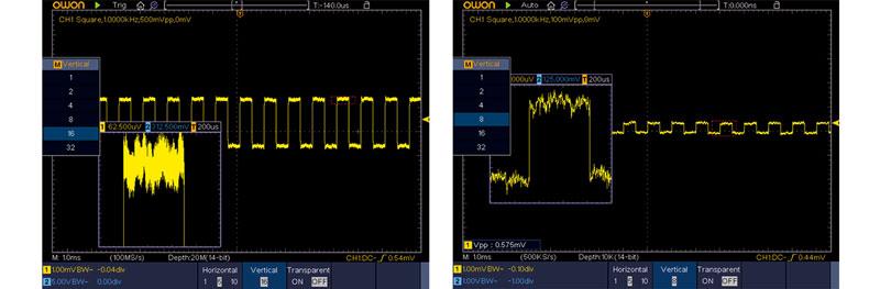 функция усреднения осциллограмм осциллографом XDS3302