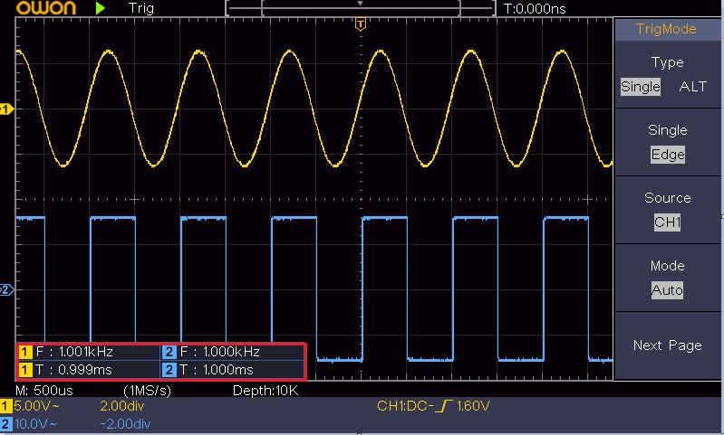 автоматическое измерение частоты и периода цифровым осциллографом OWON SDS1052