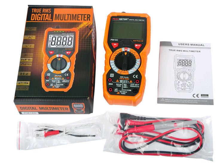 Стандартная комплектация мультиметра  PM18C Peakmeter