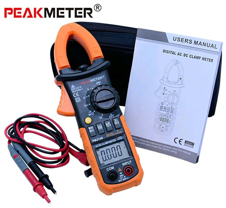 Стандартная комплектация токовых клещей PM2108Peakmeter
