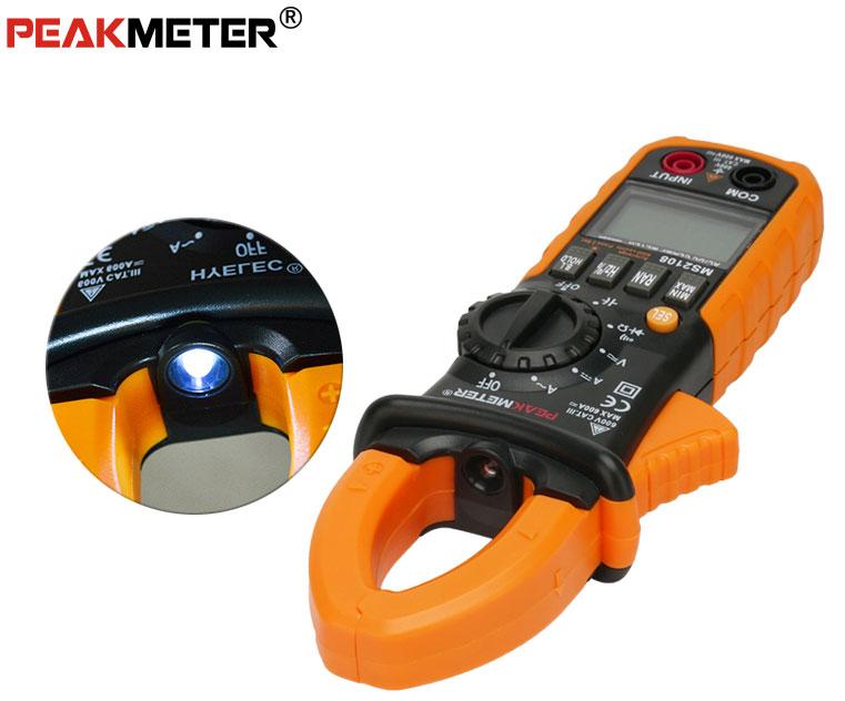 PM2108Peakmeter встроенный фонарик в токовые клеши