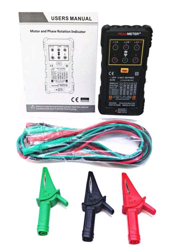 Тестер чередования фаз PM5900Peakmeter: комплектуется высококачественными щупами