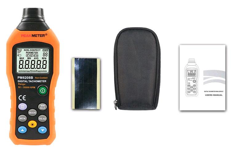 стандартная комплектация тахометра PM6208B Peakmeter