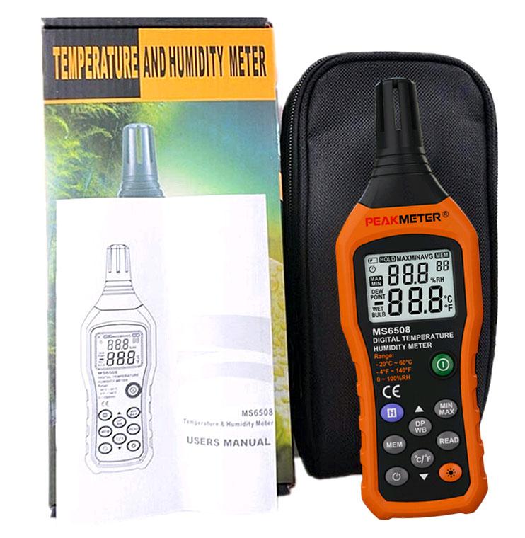стандартная комплектация измерителя температуры и влажности PM6508 Peakmeter
