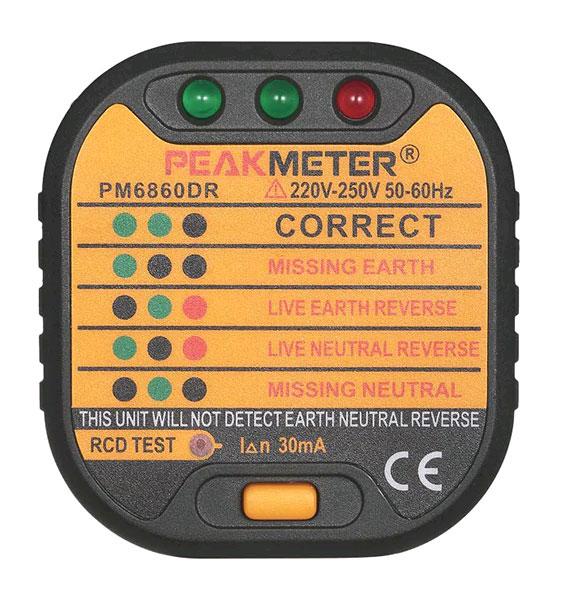 PM6860DR внешний вид тестера УЗО: фронт