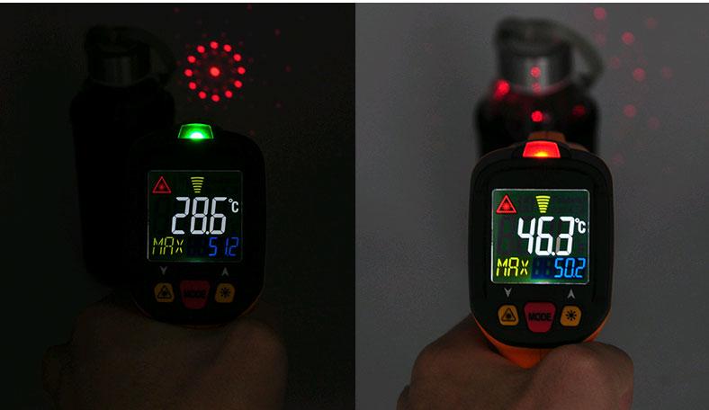 Измерение пирометром PM6530D с круговым целеуказателем и световой сигнализацией