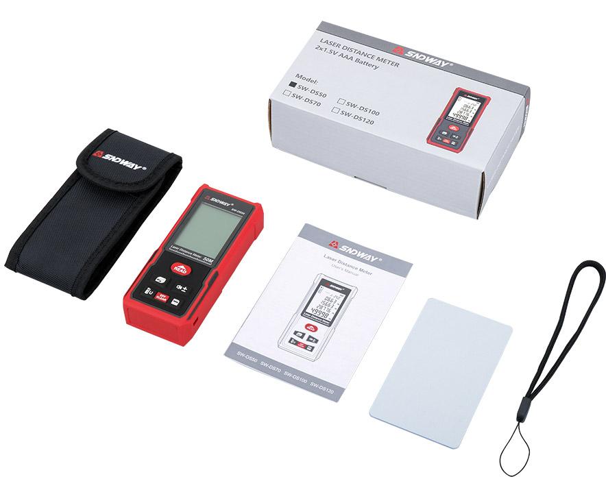 Стандартная комплектация лазерной рулетки SW-DS100 SNDWAY