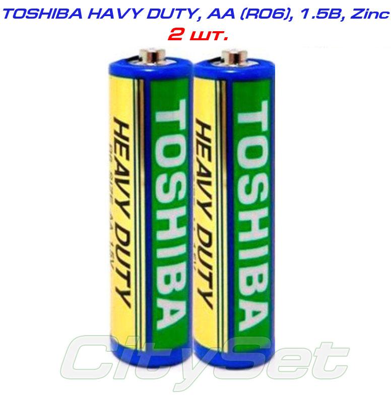 TOSHIBA AA, батарейка 1.5В, тип AА R06, HEAVY DUTY, кол-во: 2 шт.