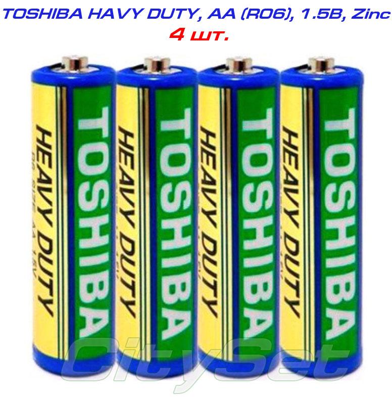TOSHIBA AA, батарейка 1.5В, тип AА R06, HEAVY DUTY, кол-во: 4 шт.