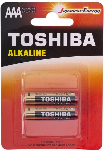TOSHIBA AAA, батарейка 1.5В, тип АAА R03, Alkanine, кол-во: 2 шт.
