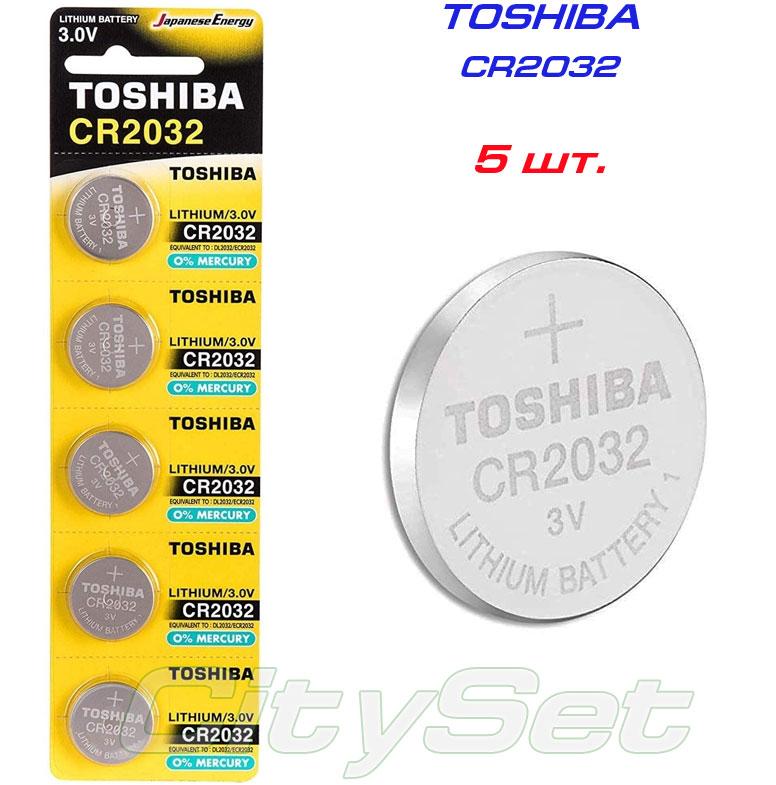 TOSHIBA  батарейка CR2032, батарейка 3 В: 5 шт